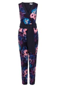 Wolf & Whistle Navy and peach floral jumpsuit
