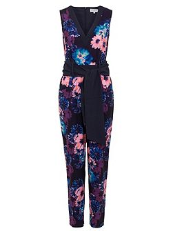 Navy and peach floral jumpsuit