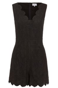 Wolf & Whistle Black Lace Playsuit