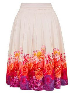 Ombre Floral Midi Skirt