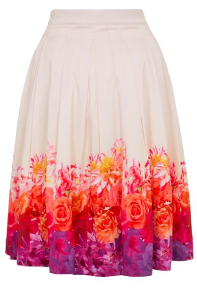 Wolf & Whistle Ombre Floral Midi Skirt