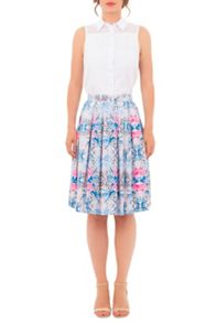 Wolf & Whistle Geometric Floral Skirt
