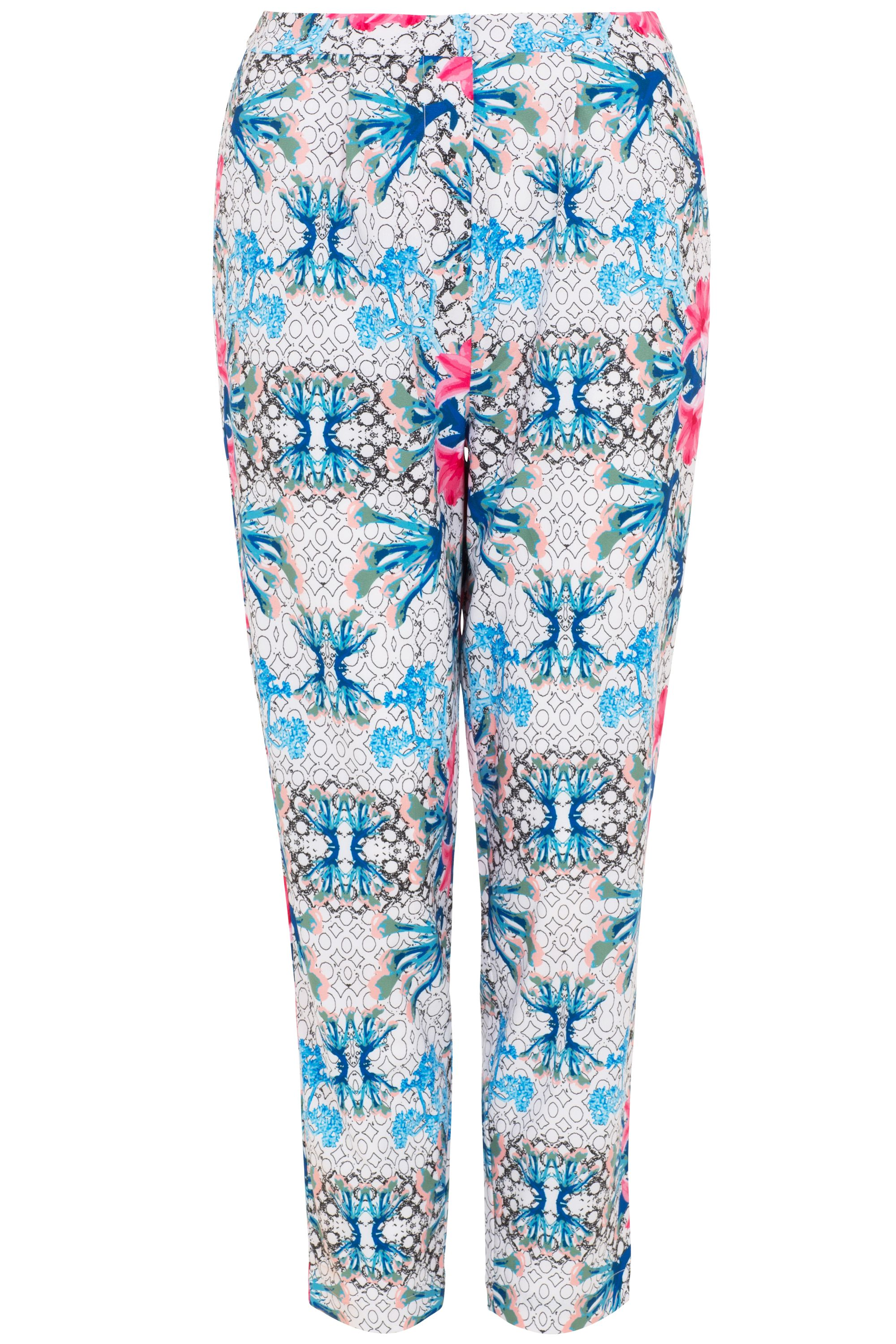 Wolf & Whistle Wolf & Whistle Geometric Floral Print Trousers, White
