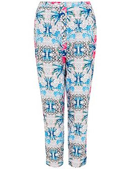 Geometric Floral Print Trousers