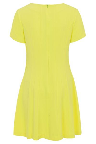 Whistle & Wolf Neon Yellow Textured Skater Dress