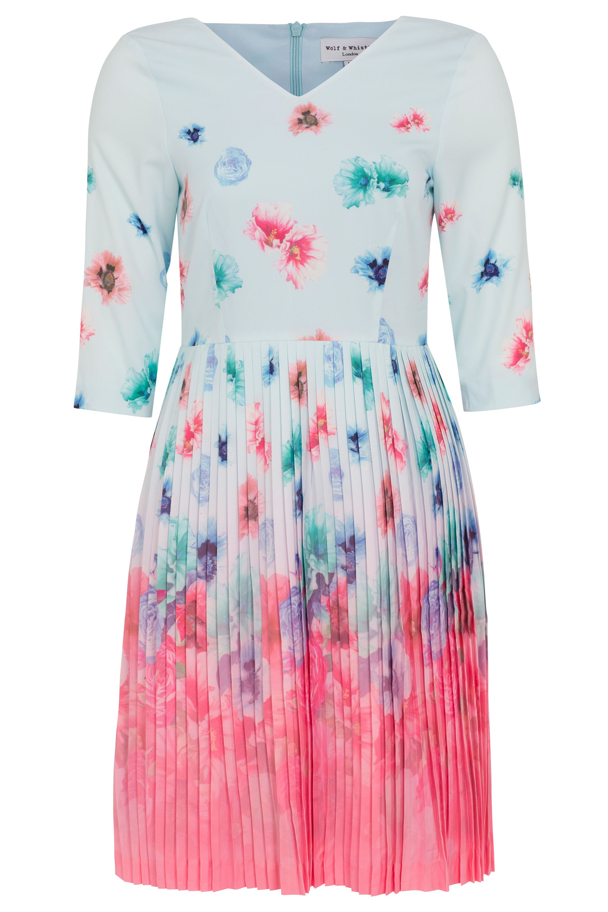 Wolf & Whistle Faded Floral Pleated Dress, Multi-coloured