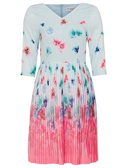 Faded Floral Pleated Dress