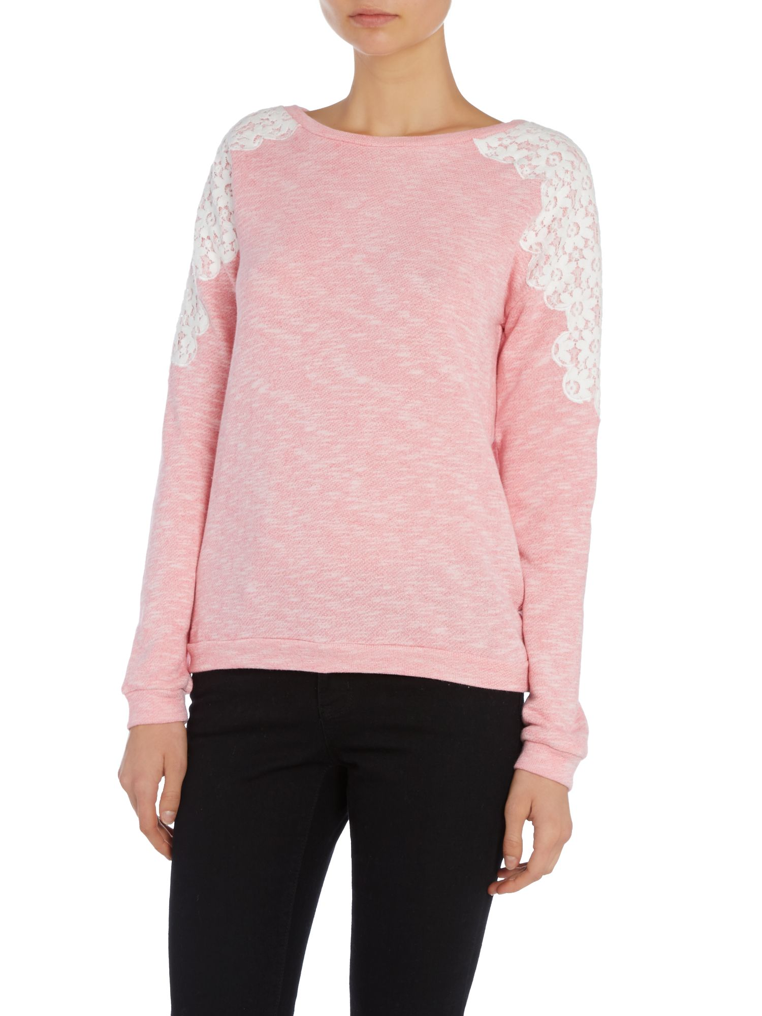 Light Knit LS Sweater Lace Shoulder Jumper