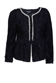 Collarless embellished jacket