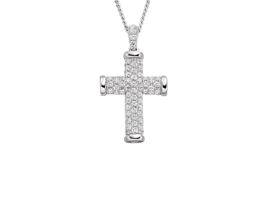 Simple sparkle cross necklace