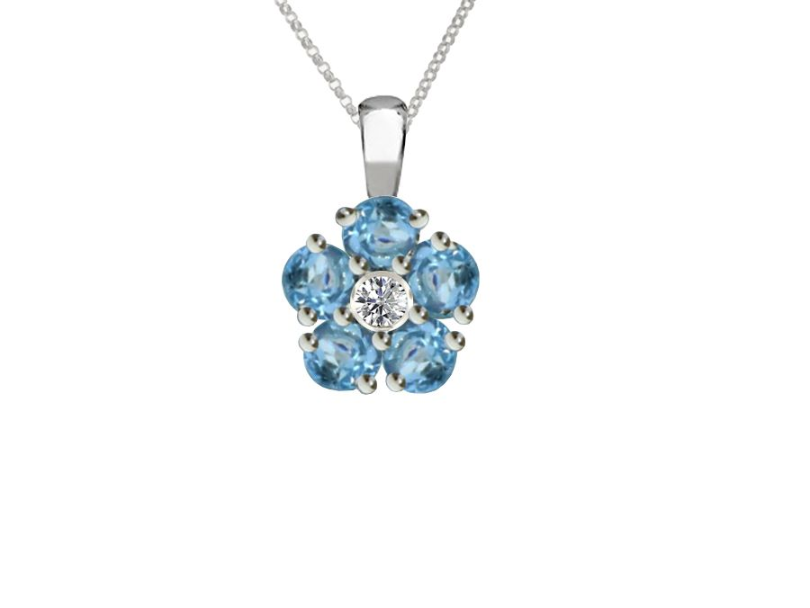 Round Blue Topaz Cluster Necklace