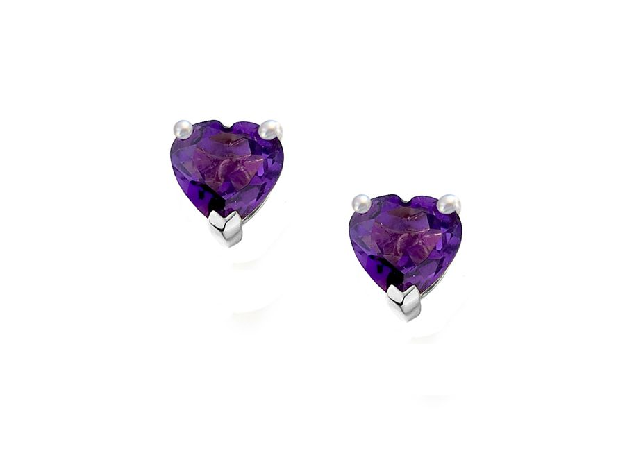 Heart Shape Amethyst Earrings