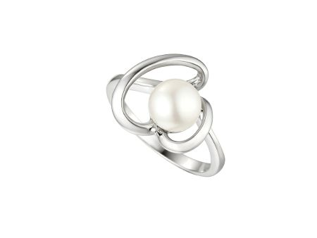 Amore Argento Heart Shape Round Freshwater Pearl Ring