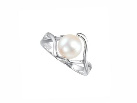 Amore Argento Cross Over Round Freshwater Pearl Ring