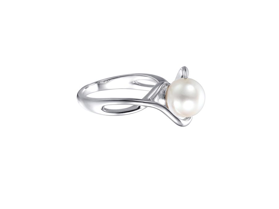 Cross Over Round Freshwater Pearl Ring