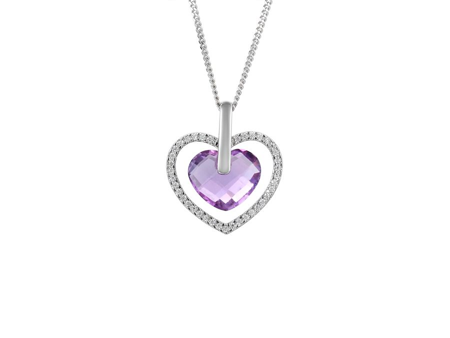 Heart Shape Amethyst Necklace