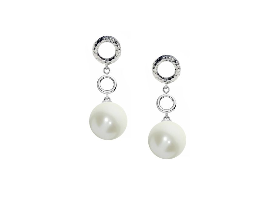 Freshwater Pearl Hammered Drop Earrings