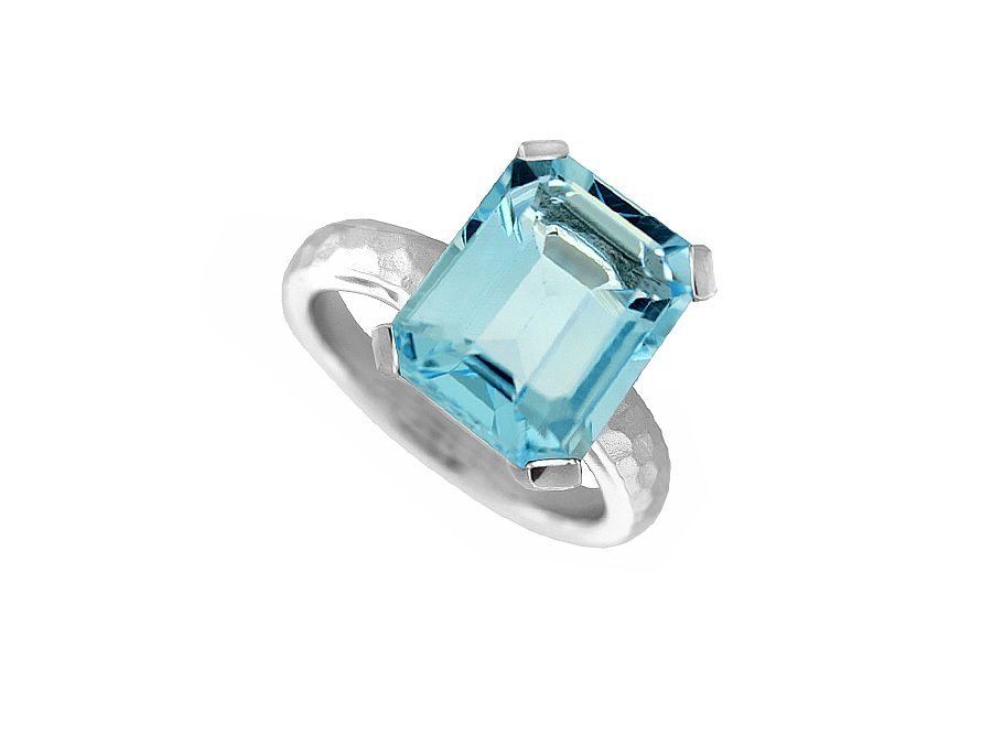 Emerald Cut Blue Topaz Hammered Ring