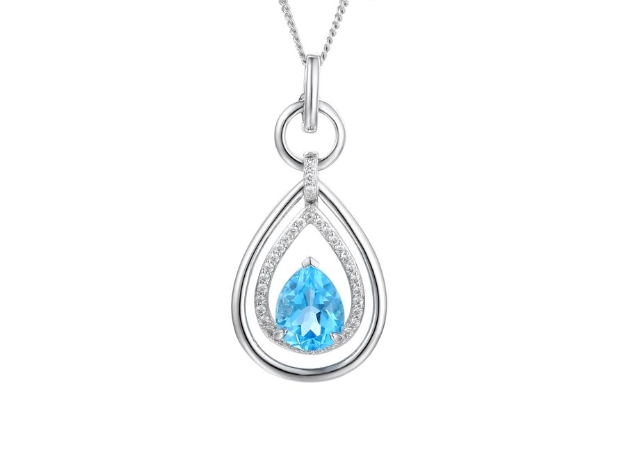 Tear Drop Blue Topaz Necklace