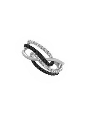 Multi Crossover Black And White Ring