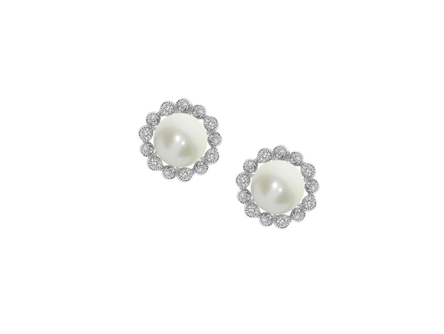 Round Freshwater Pearl Cluster Earrings