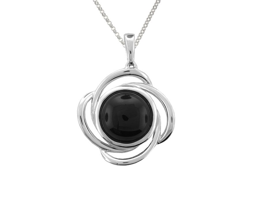 Swirly Round Black Agate Necklace