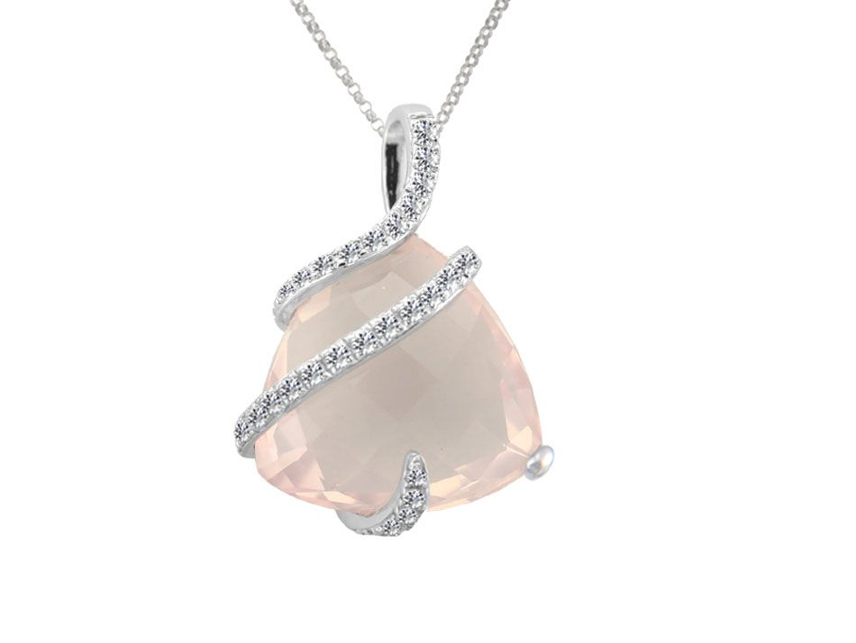 Swirled Fusion Rose Quartz Necklace