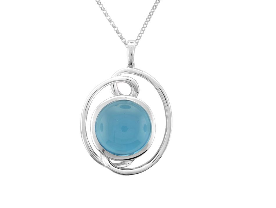 Swirly Cabochon Blue Topaz Necklace