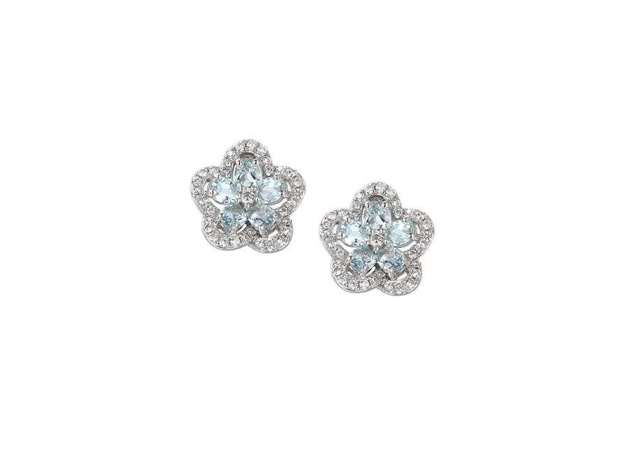 Camellia aqua earrings