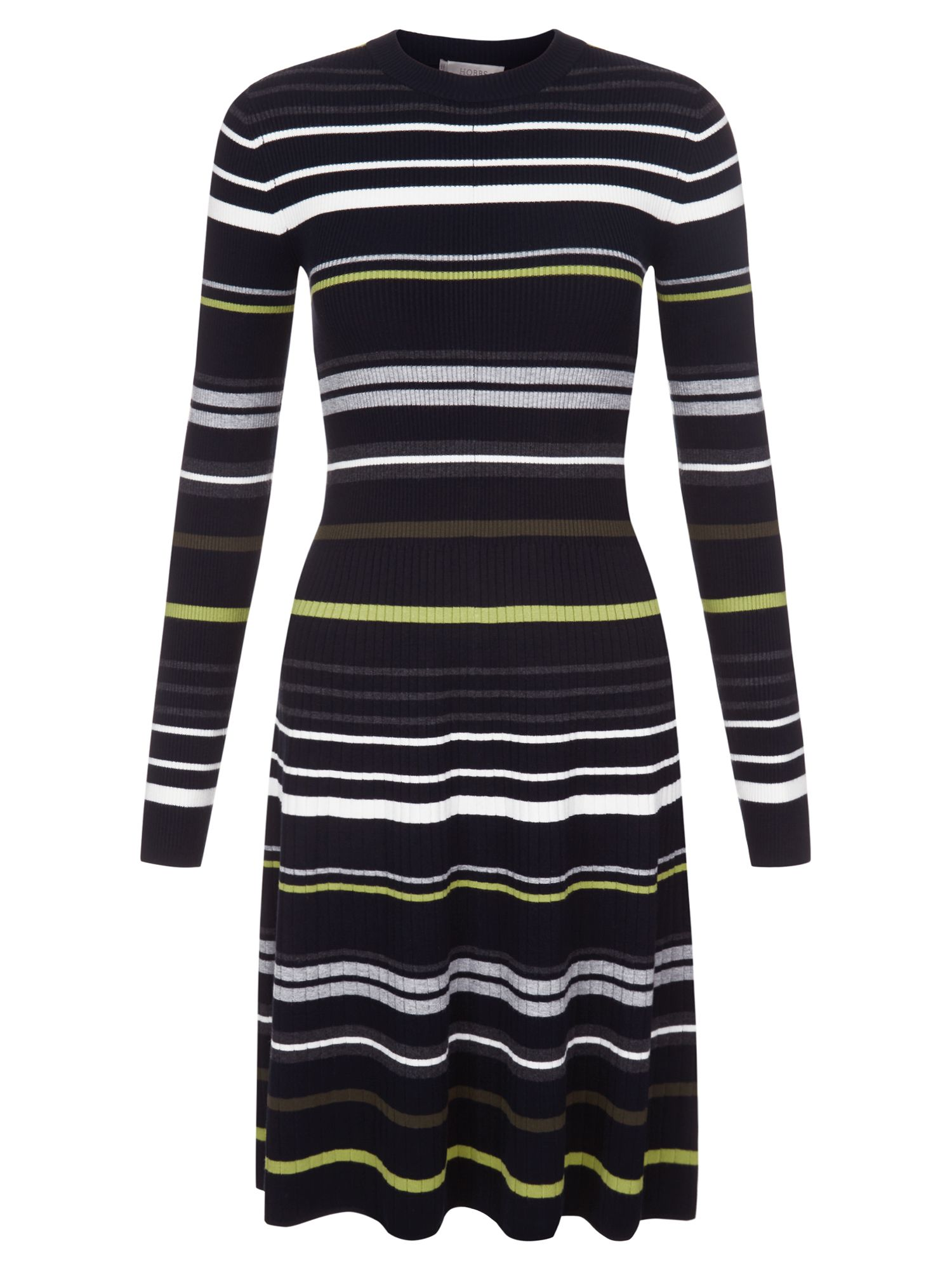Hobbs Jayne Stripe Dress, Multi-Coloured