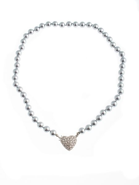 Gaby Faux pearl necklace Swarovski heart