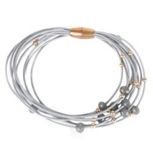 Gaby Leather multistrand/faceted stone bracelet with m