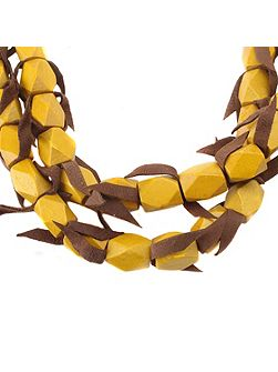 Mya 2 row bead/leather necklace