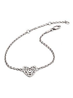 Silver filigree heart bracelet