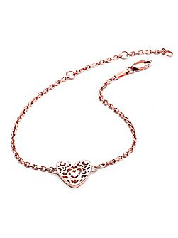 Rose gold filigree heart bracelet