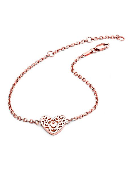 Chavin Rose gold  filigree heart bracelet