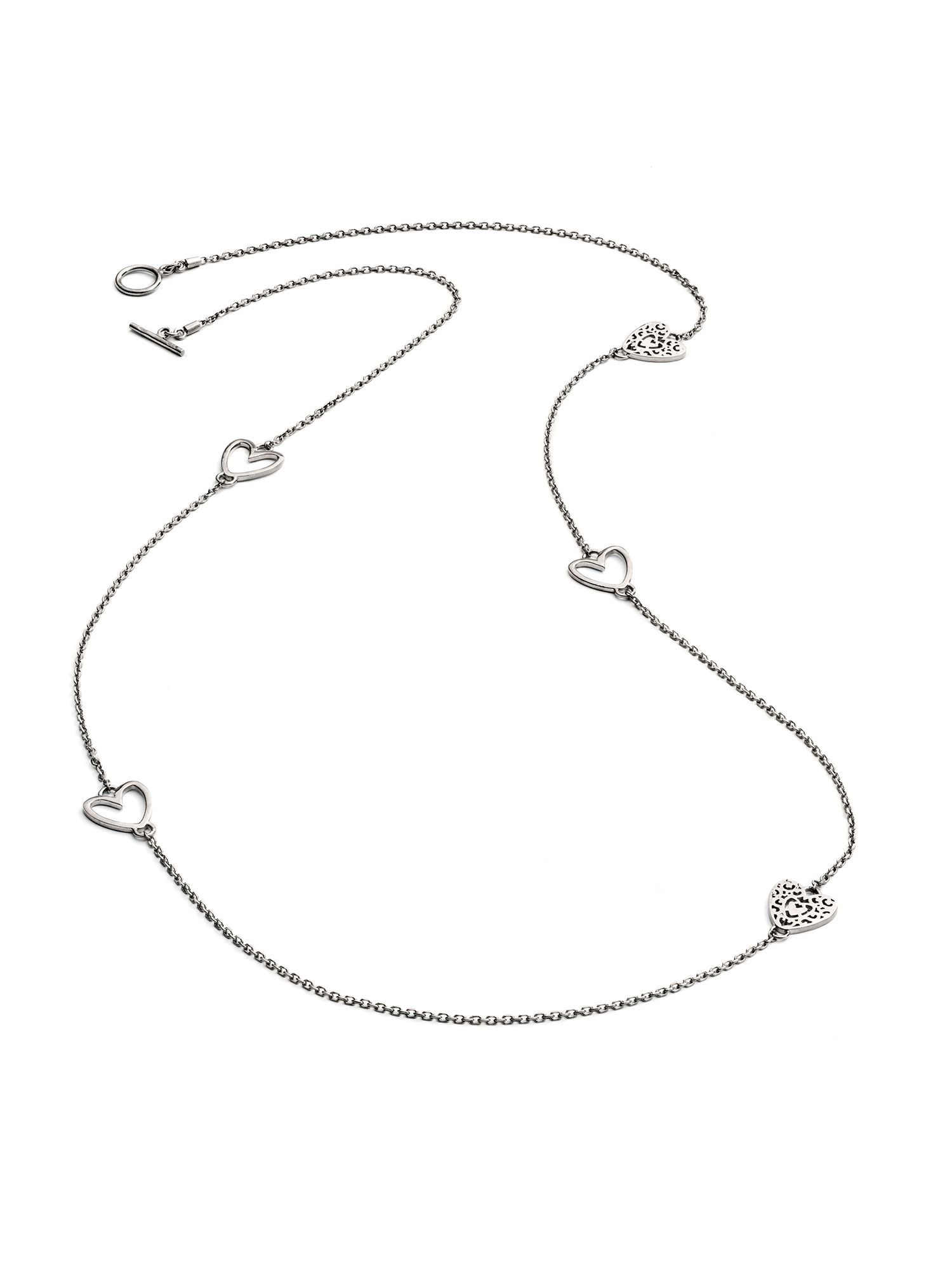 Chavin Silver five charm heart  necklace Silver