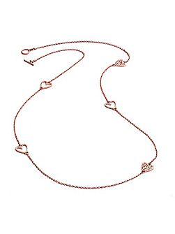 Rose gold five charm heart necklace