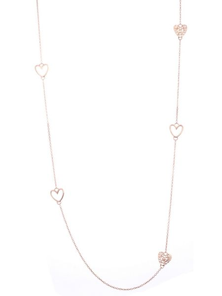 Chavin Rose gold five charm heart necklace
