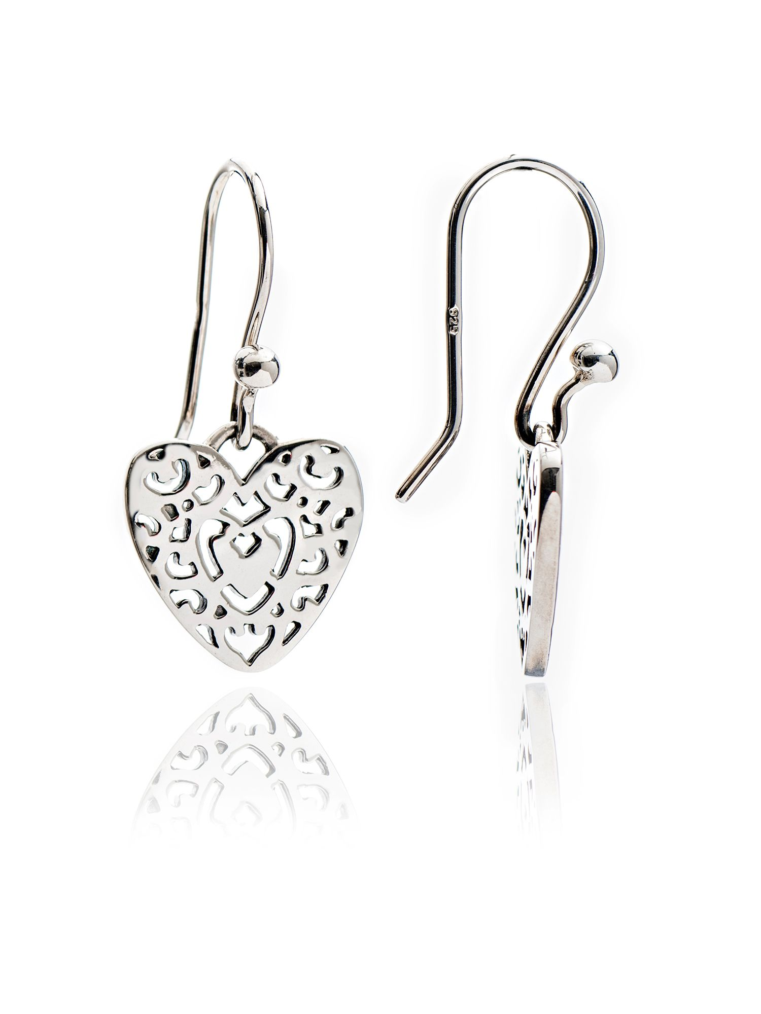 chavin silver filigree heart drop earrings