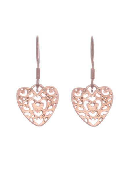 Chavin Rose gold  filigree heart drop earrings