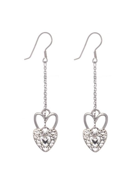 Chavin Silver heart dangle earrings