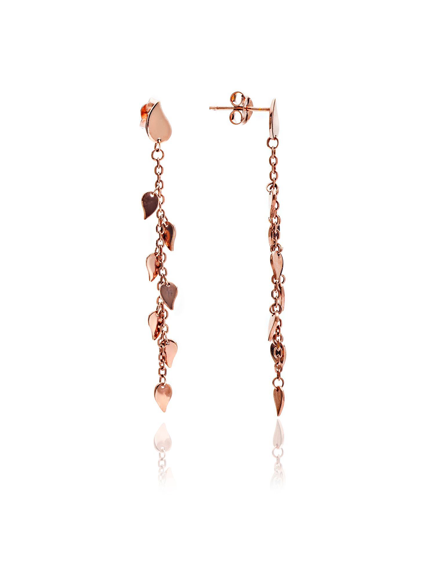 chavin rose gold dangle leaf earrings