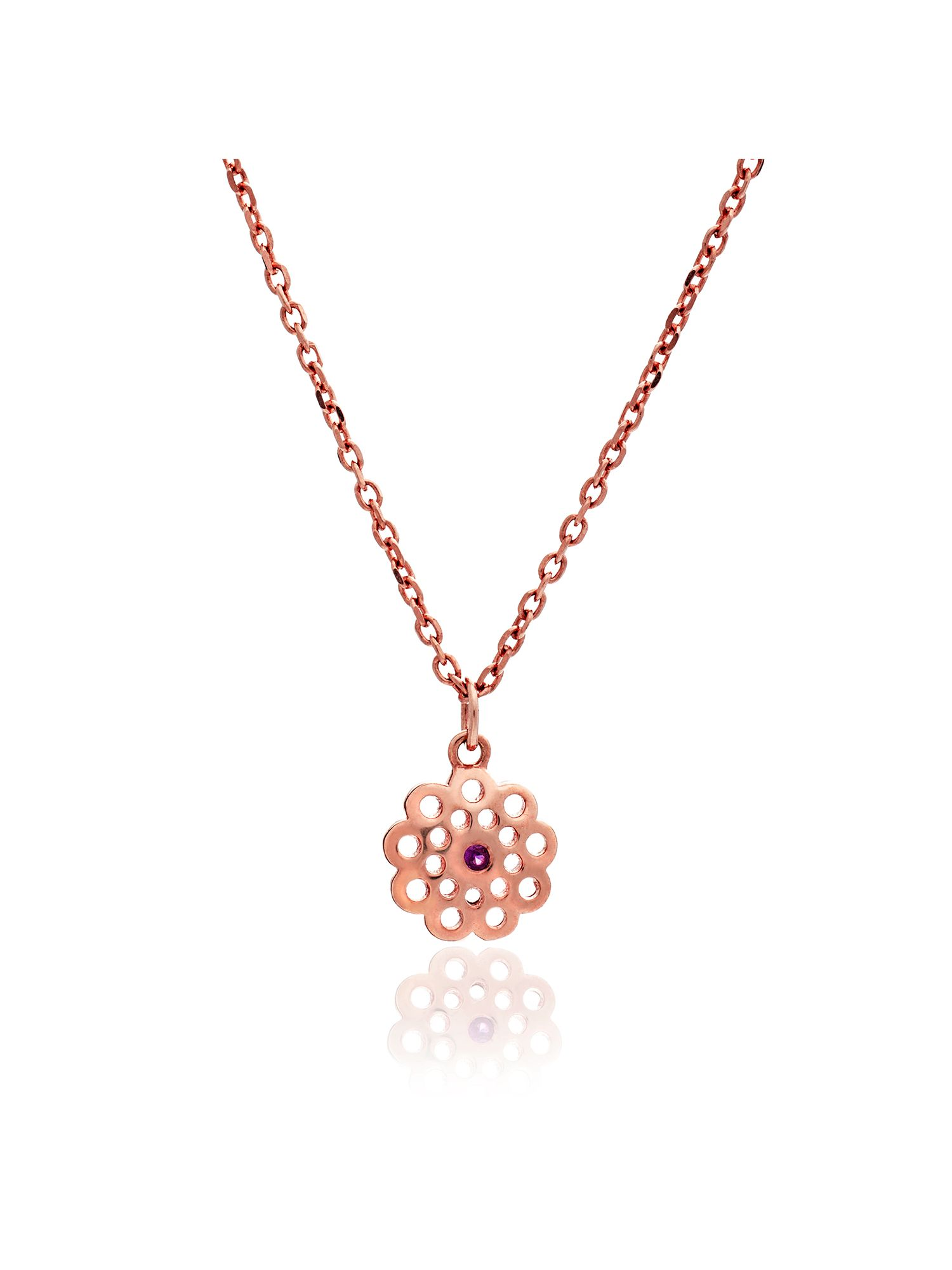 chavin rose gold paisley ruby flower necklace