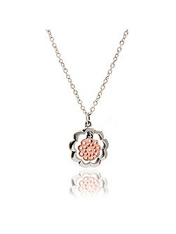 Mixed metal paisley flower pendant