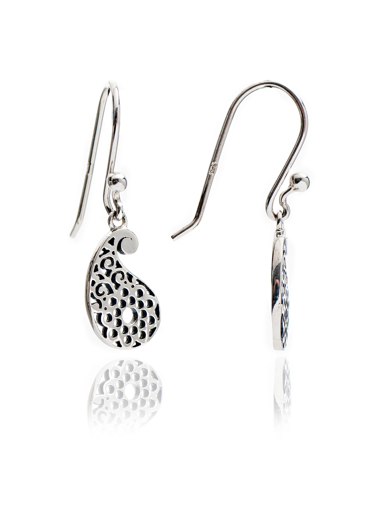 chavin silver paisley filigree earrings