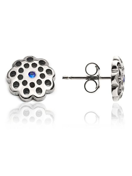 Chavin Silver flower stud earrings blue sap