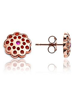 Rose gold flower stud earrings ruby