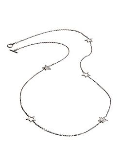 Silver five charm star necklace