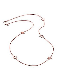 Rose gold five charm star necklace
